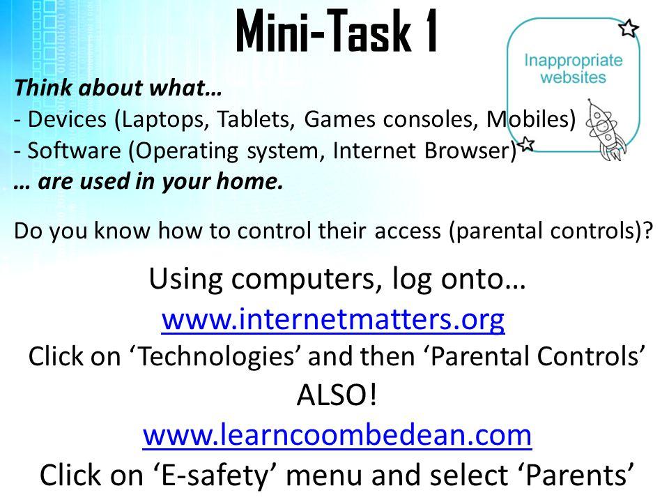 Mini-Task 1 Using computers, log onto…