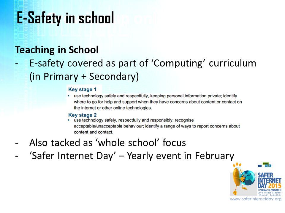 Growing up online…. E-Safety in school Teaching in School