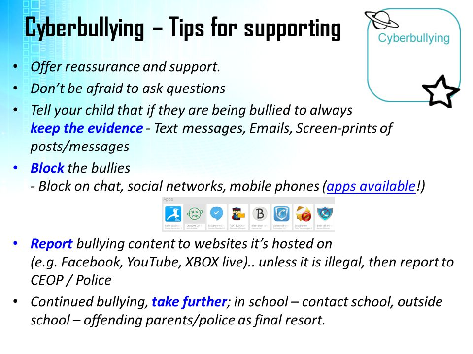 Cyberbullying – Tips for supporting