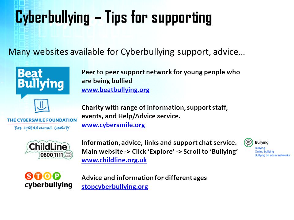 Top tips Cyberbullying – Tips for supporting