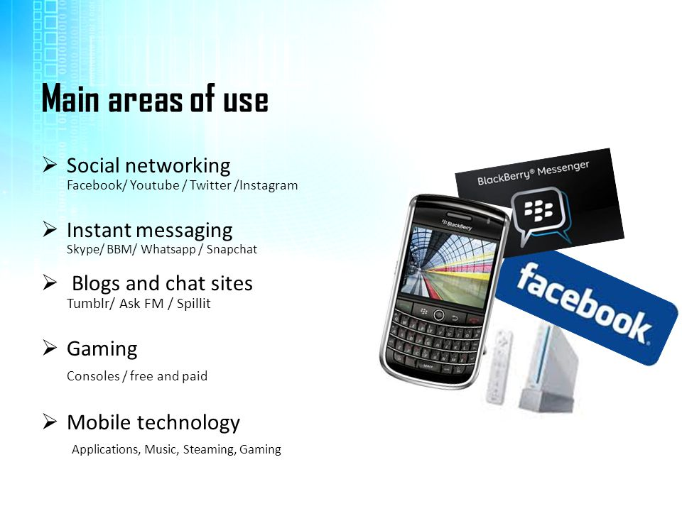 Main areas of use Social networking Instant messaging