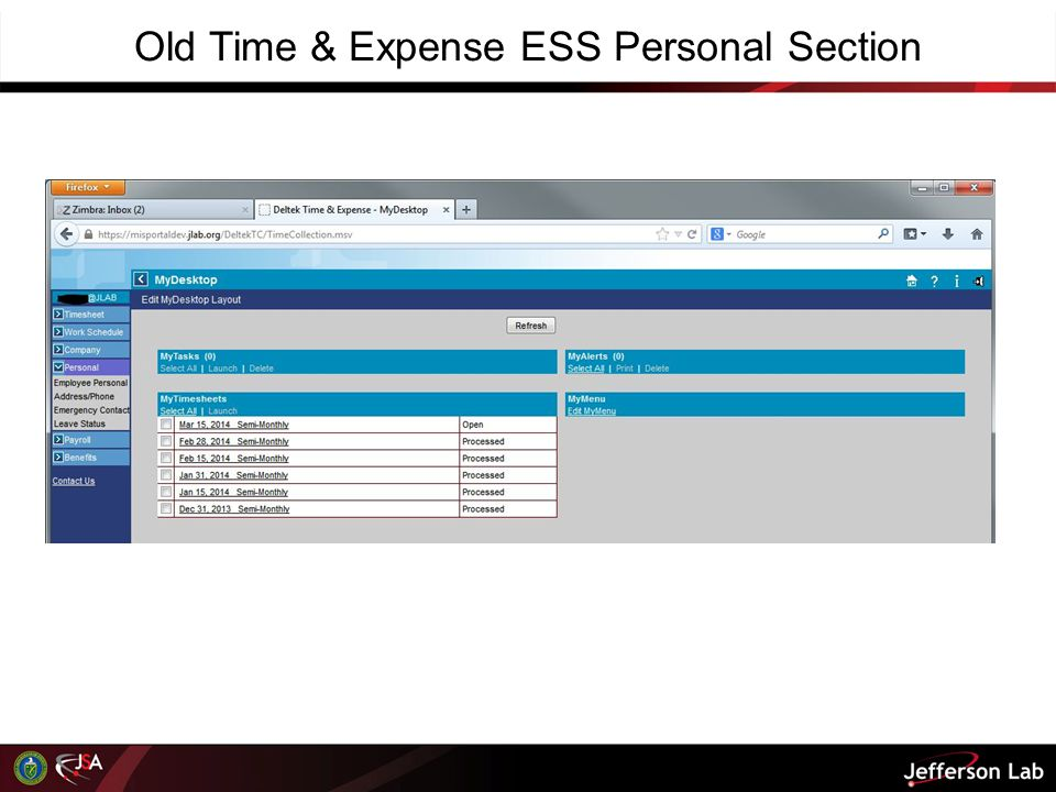 Old Time & Expense ESS Personal Section