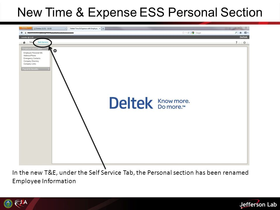 New Time & Expense ESS Personal Section