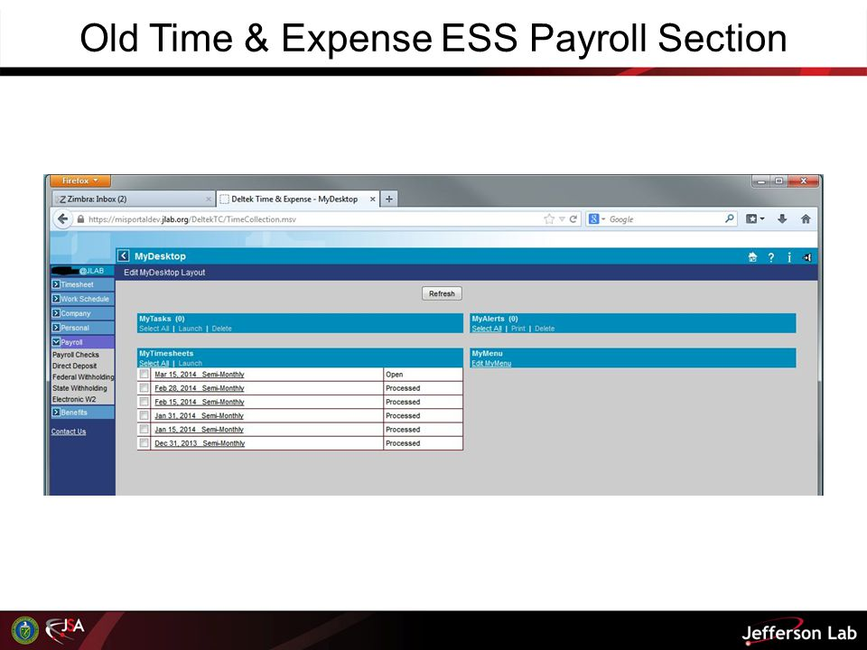 Old Time & Expense ESS Payroll Section