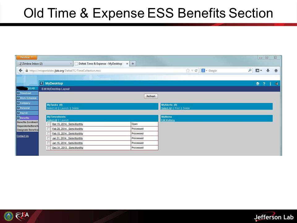 Old Time & Expense ESS Benefits Section