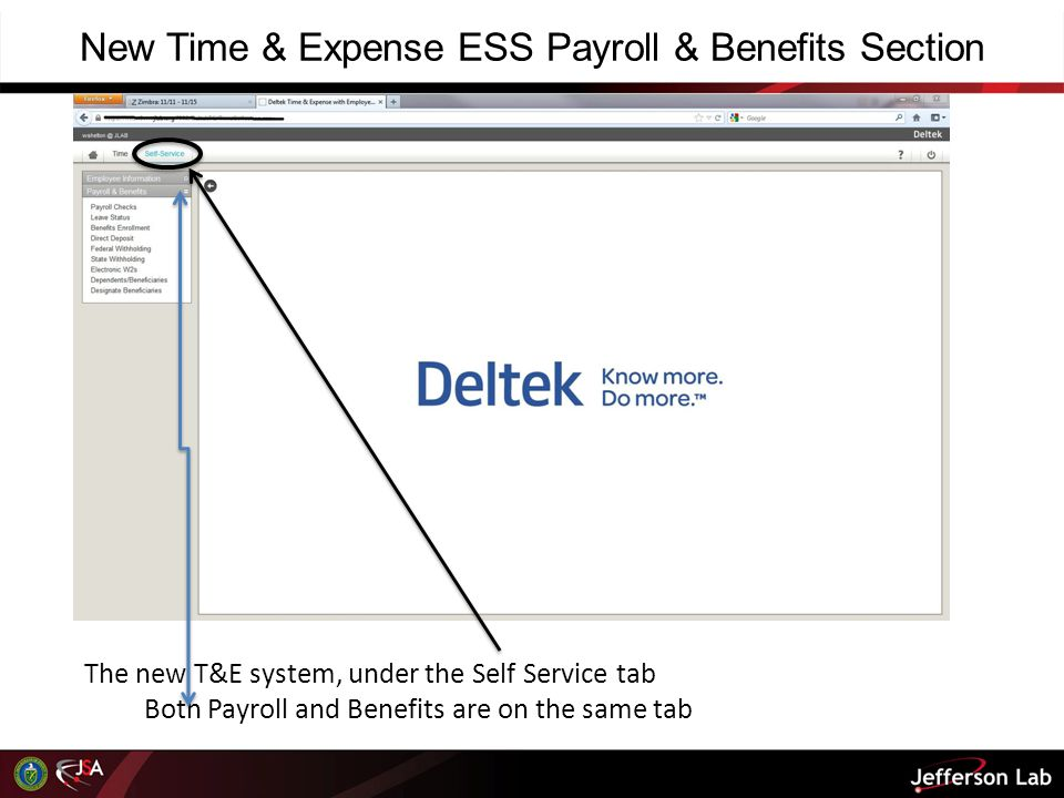 New Time & Expense ESS Payroll & Benefits Section