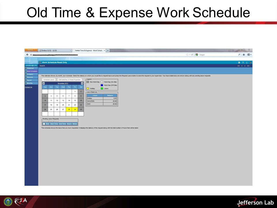 Old Time & Expense Work Schedule
