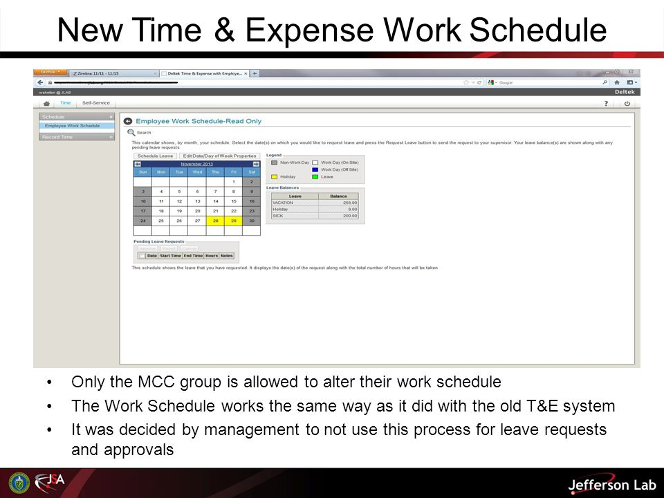 New Time & Expense Work Schedule
