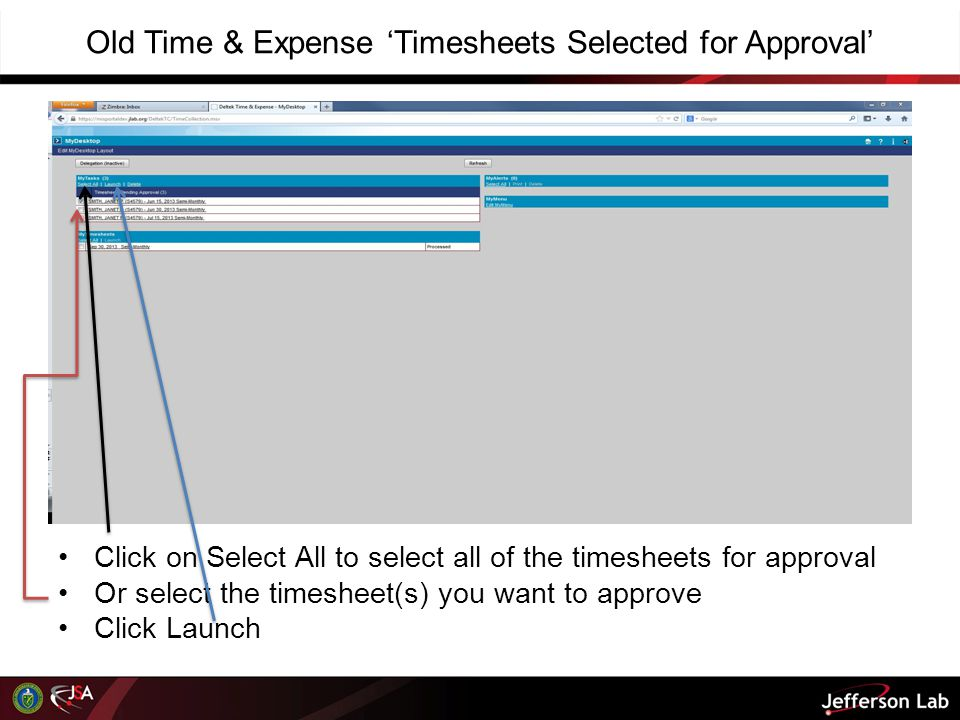 Old Time & Expense 'Timesheets Selected for Approval'