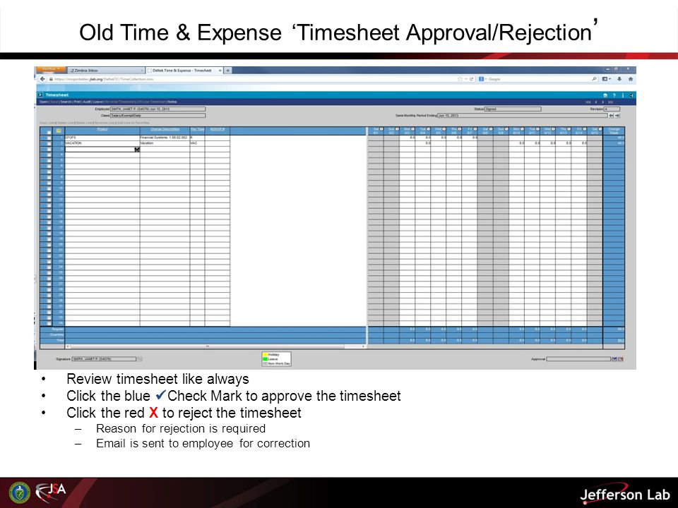 Old Time & Expense 'Timesheet Approval/Rejection'
