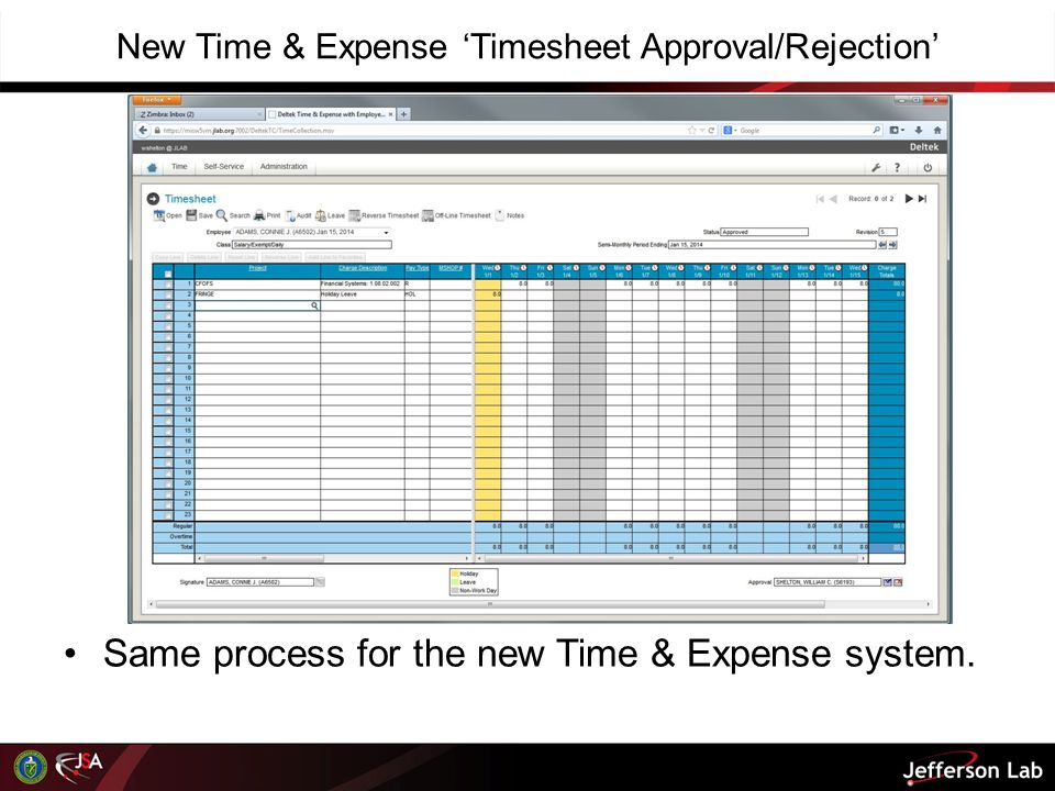 New Time & Expense 'Timesheet Approval/Rejection'