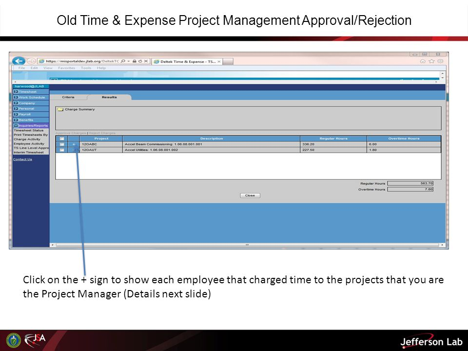 Old Time & Expense Project Management Approval/Rejection