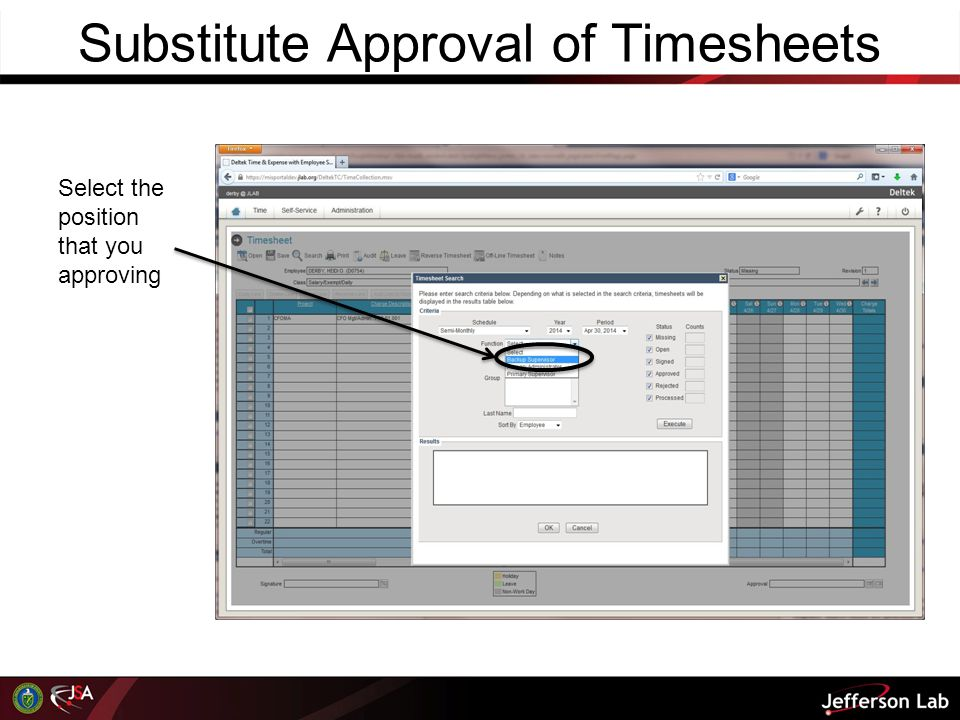 Substitute Approval of Timesheets