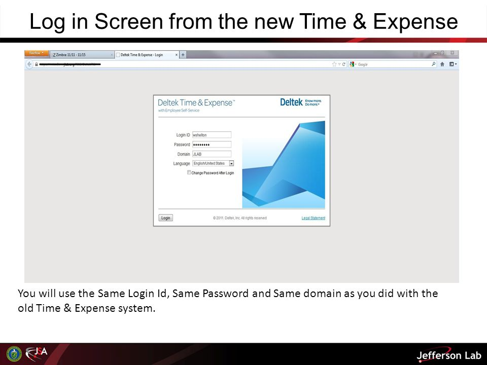 Log in Screen from the new Time & Expense