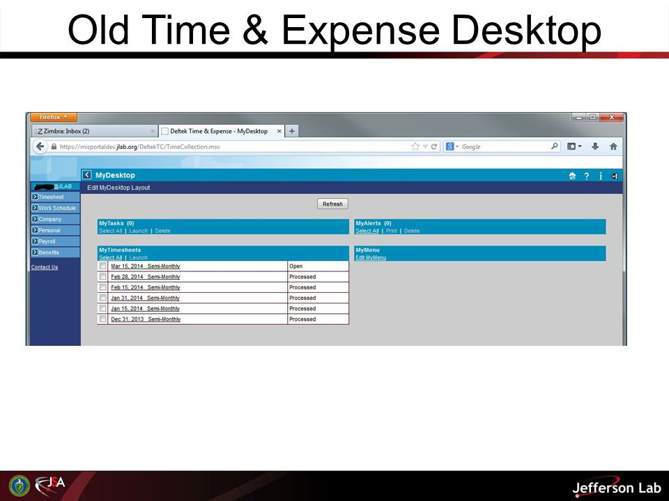 Old Time & Expense Desktop