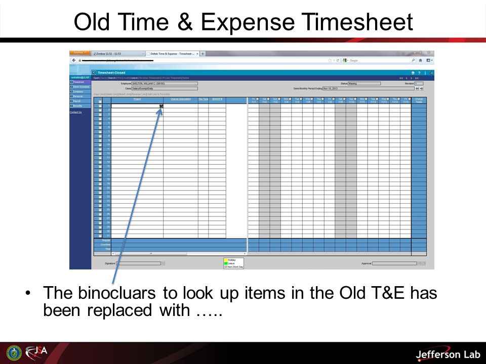 Old Time & Expense Timesheet