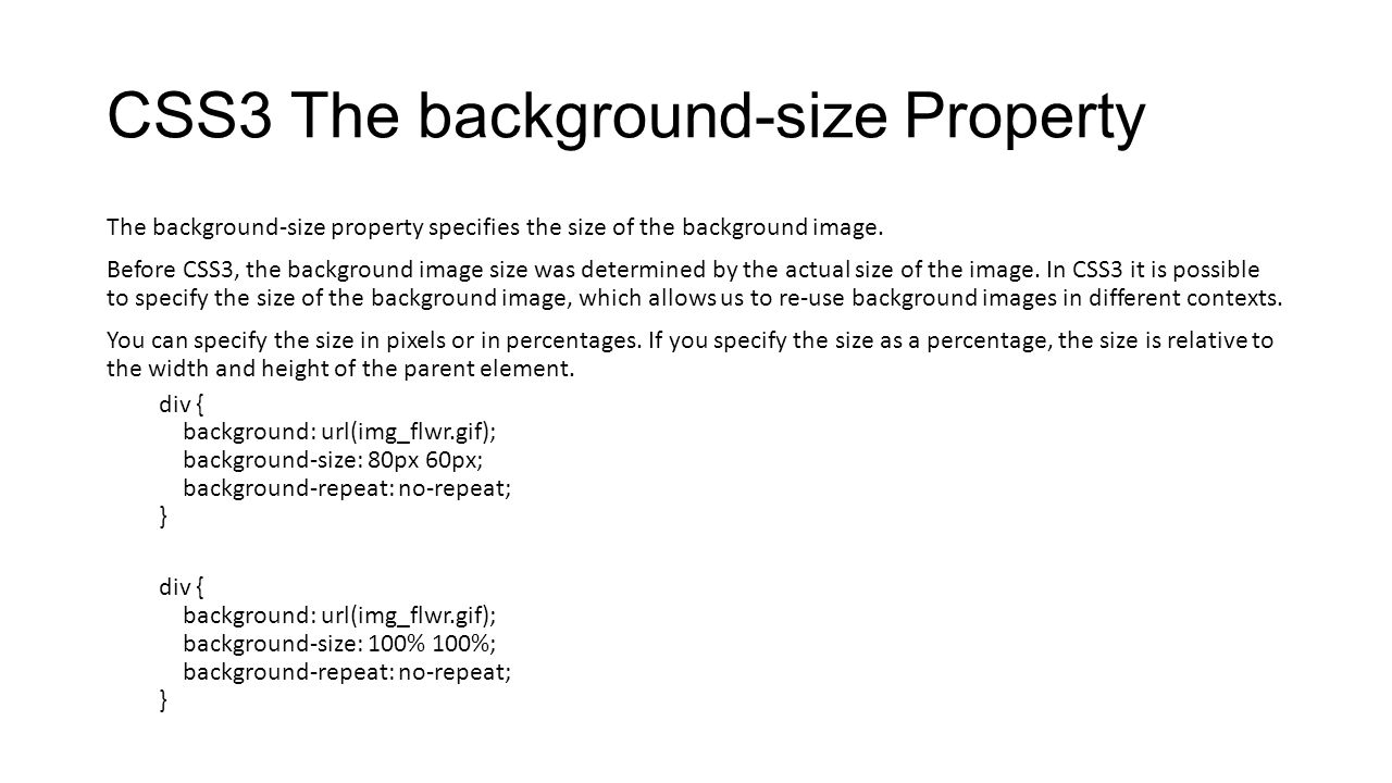 CSS3 The background-size Property