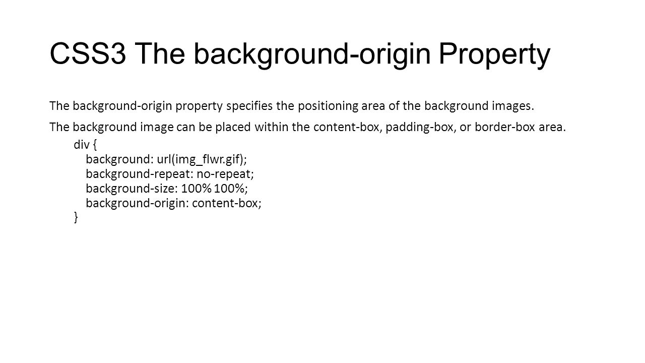 CSS3 The background-origin Property