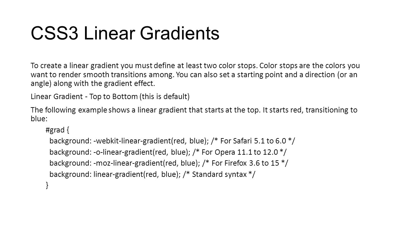 CSS3 Linear Gradients