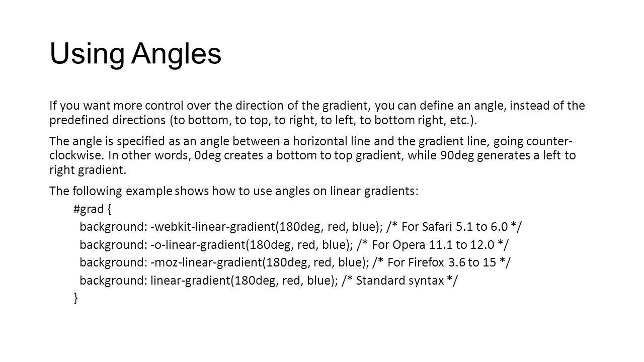 Using Angles