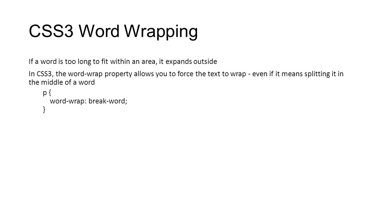 CSS3 Word Wrapping
