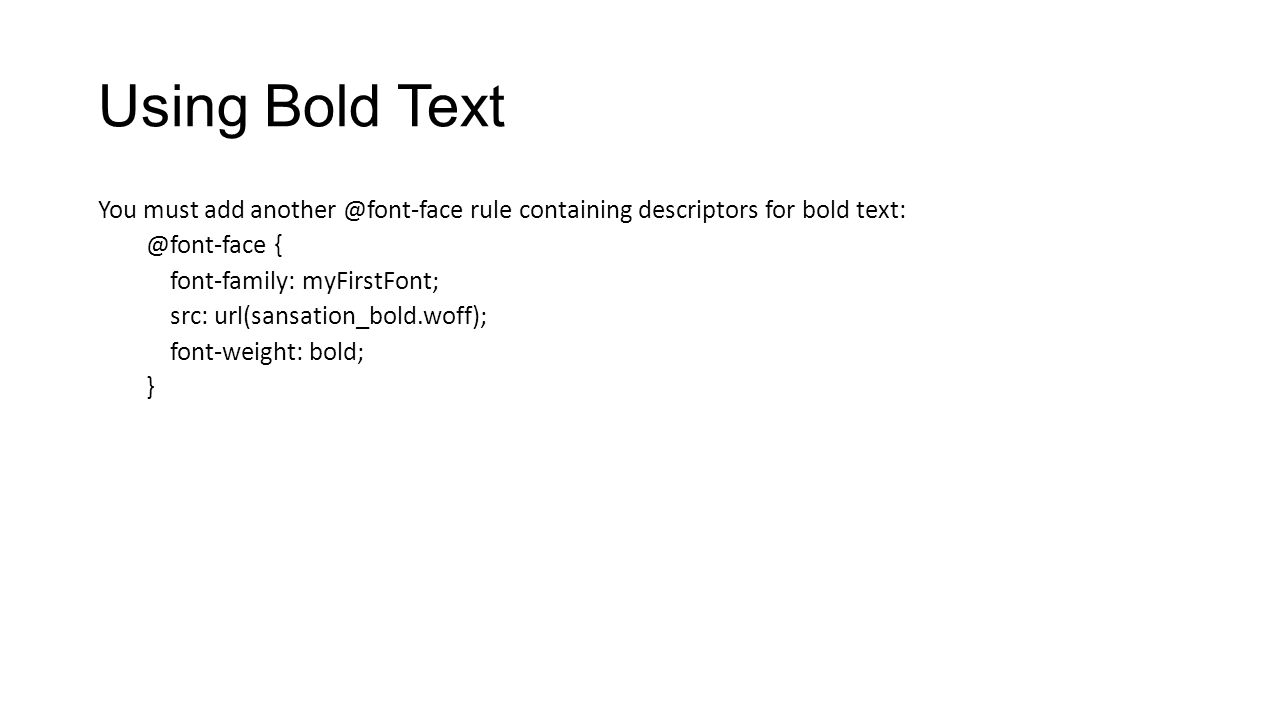 Using Bold Text