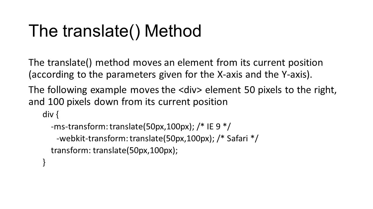 The translate() Method