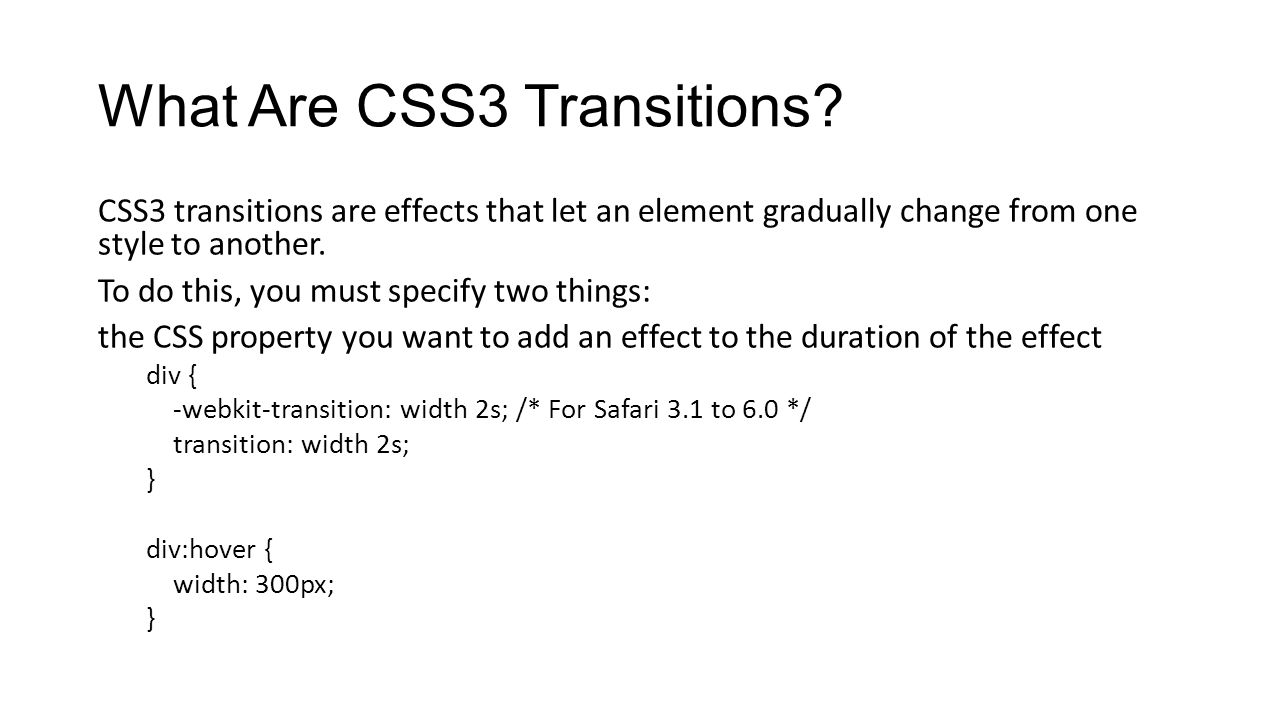What Are CSS3 Transitions