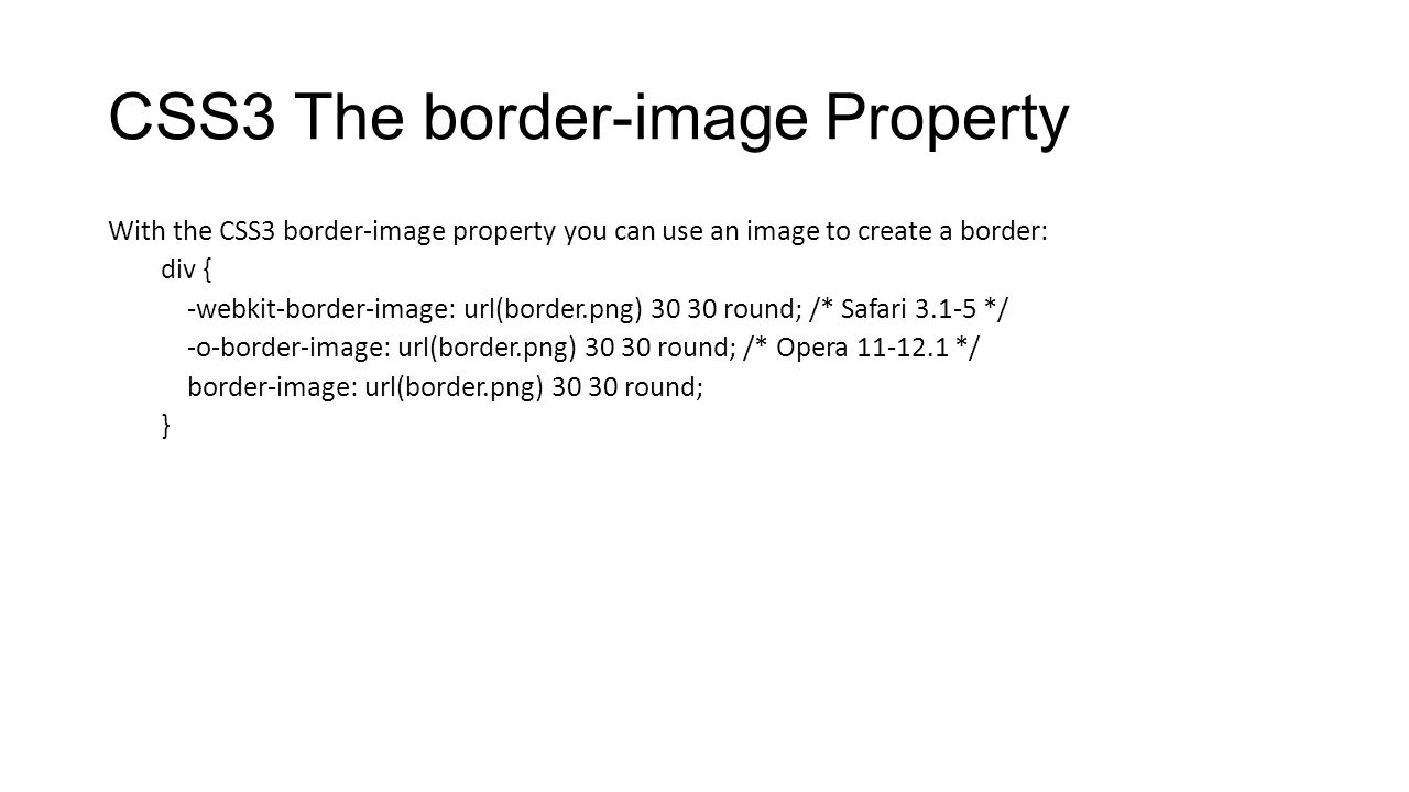 CSS3 The border-image Property