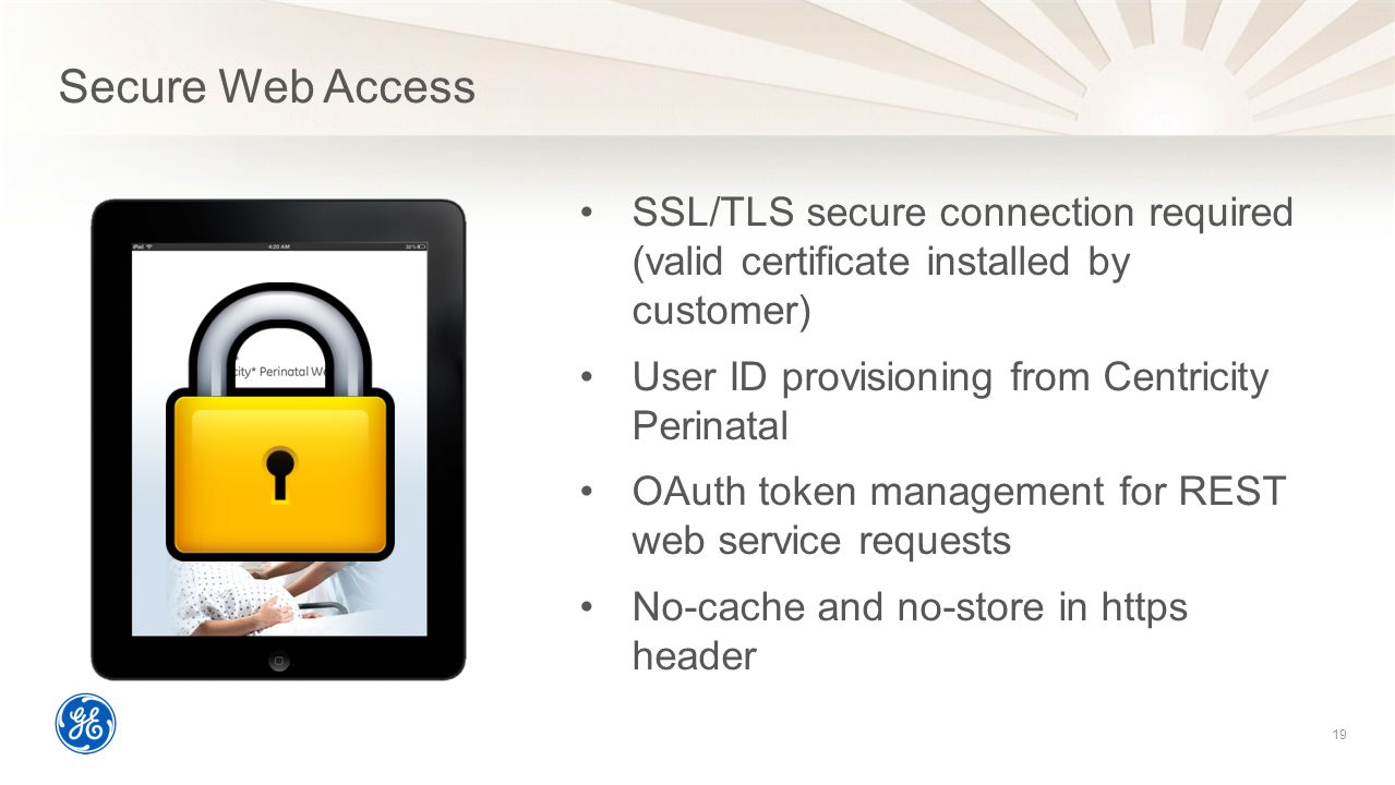 Secure Web Access SSL/TLS secure connection required (valid certificate installed by customer) User ID provisioning from Centricity Perinatal.