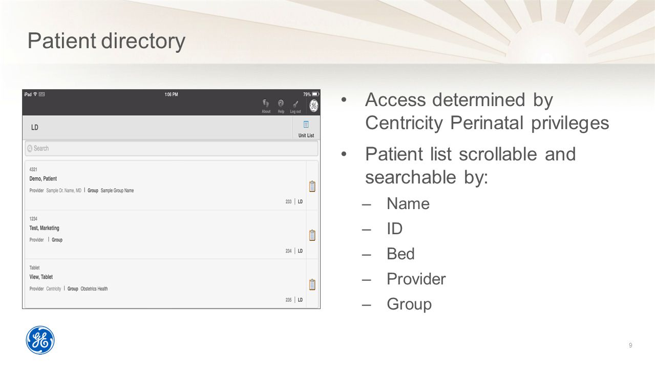 Patient directory Access determined by Centricity Perinatal privileges