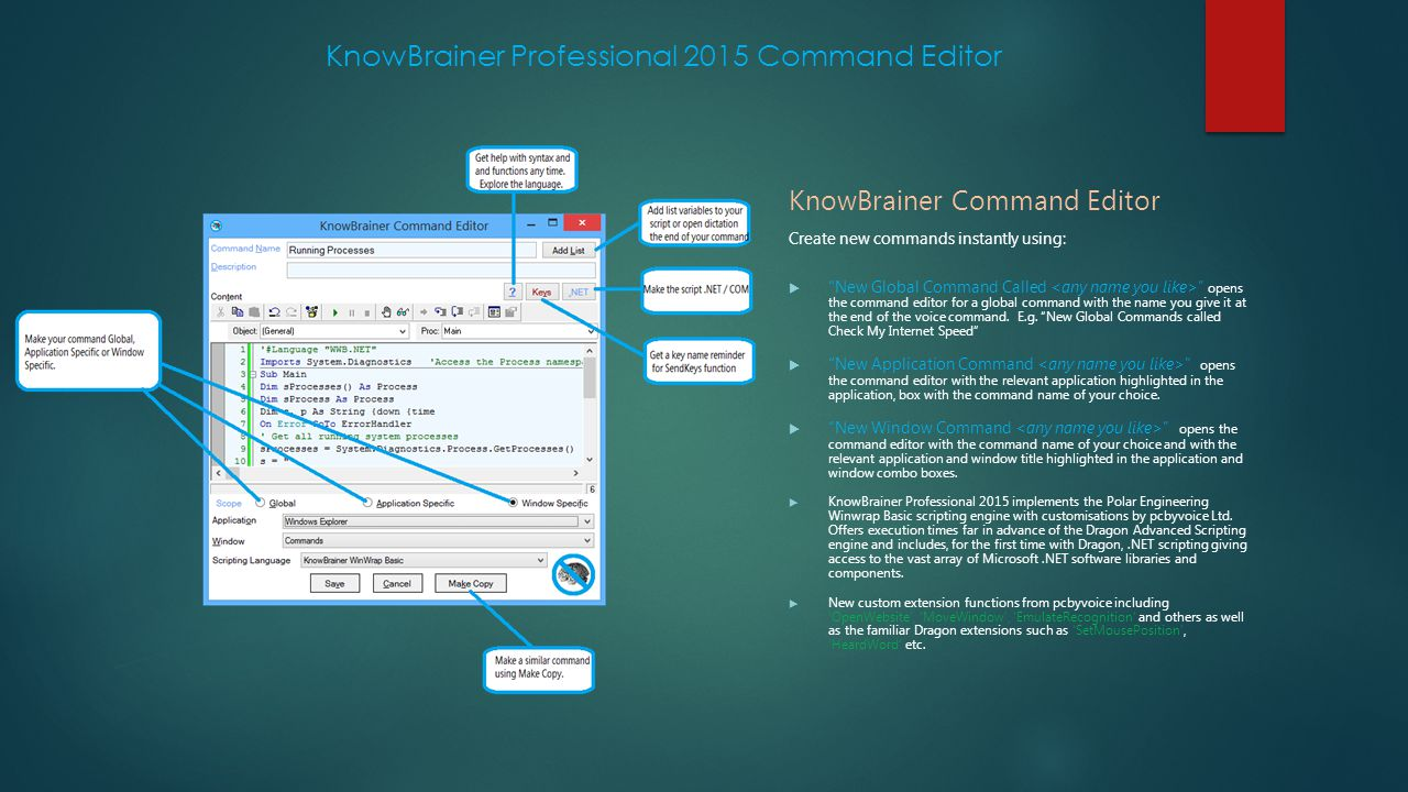 KnowBrainer Professional 2015 Command Editor