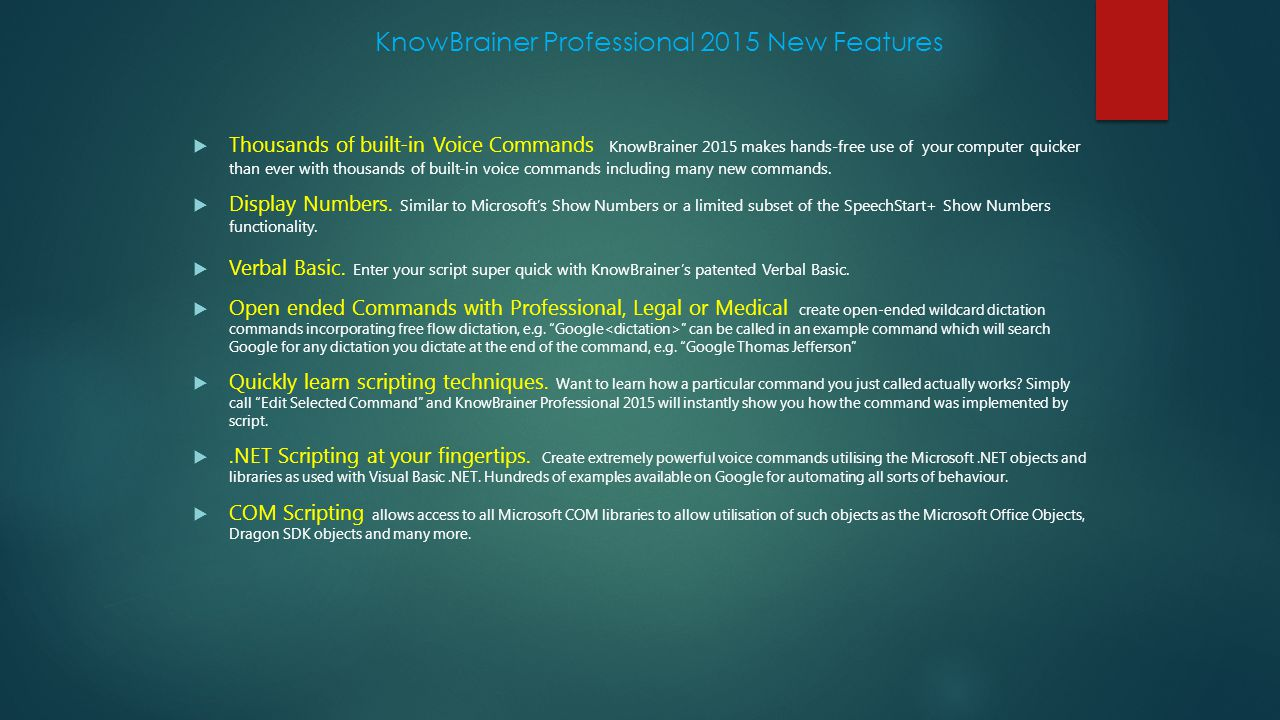 KnowBrainer Professional 2015 New Features