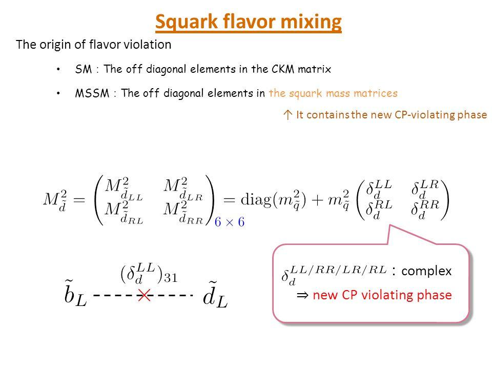 超対称標準模型でのCP対称性の破れ Squark flavor mixing :complex