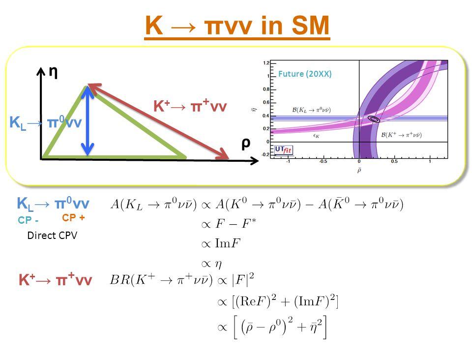 K → πνν in SM η ρ K+→ π+νν KL→ π0νν KL→ π0νν K+→ π+νν Direct CPV