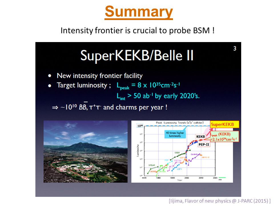 Summary Intensity frontier is crucial to probe BSM !