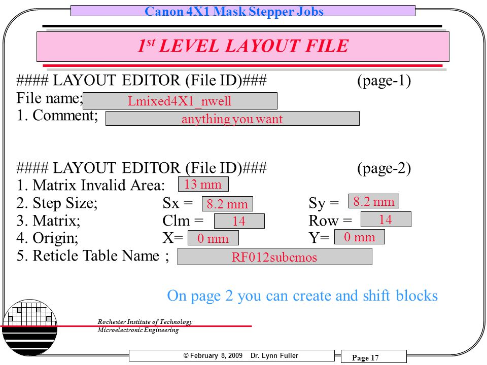 1st LEVEL LAYOUT FILE #### LAYOUT EDITOR (File ID)### (page-1)