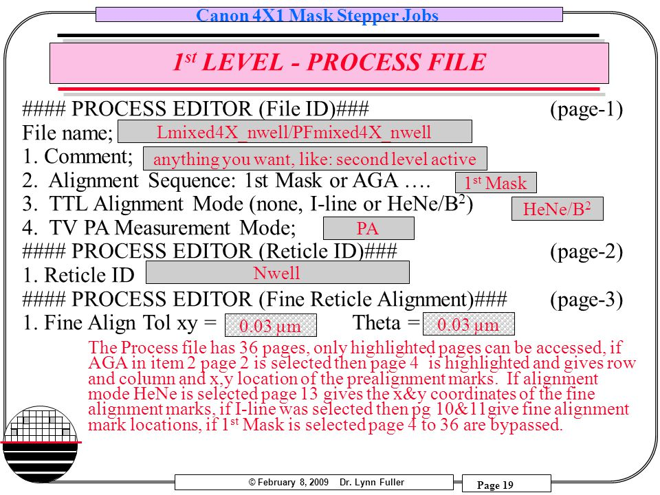 1st LEVEL - PROCESS FILE #### PROCESS EDITOR (File ID)### (page-1)