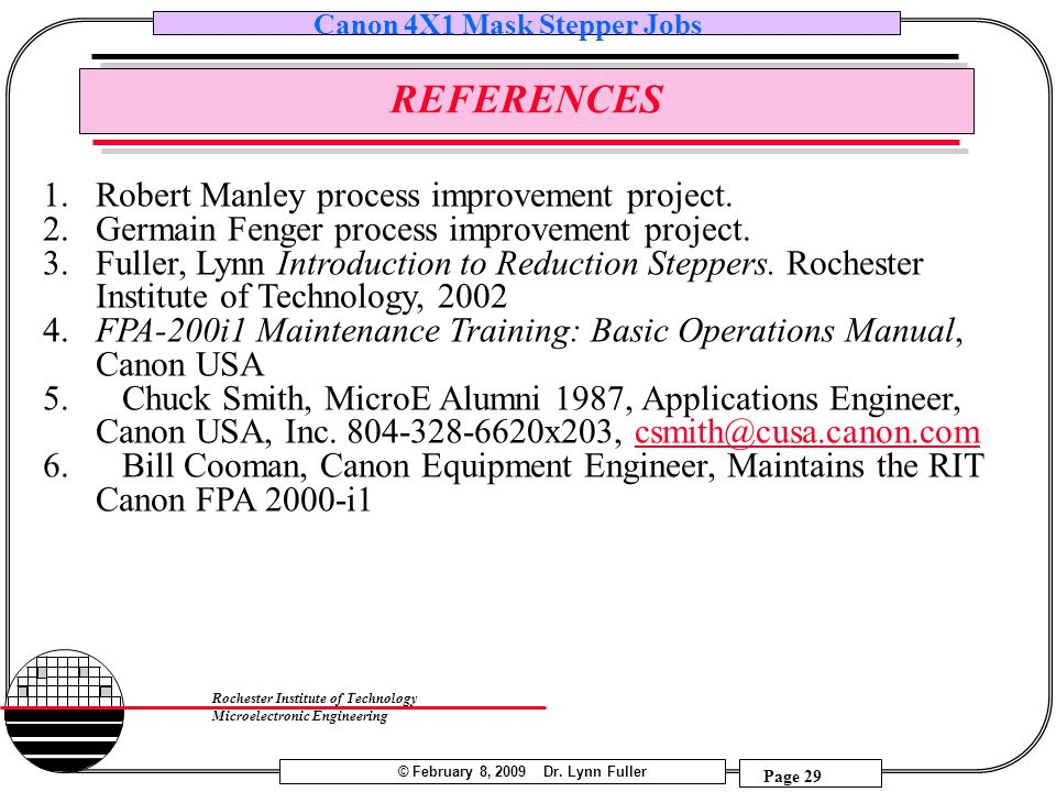 REFERENCES Robert Manley process improvement project.