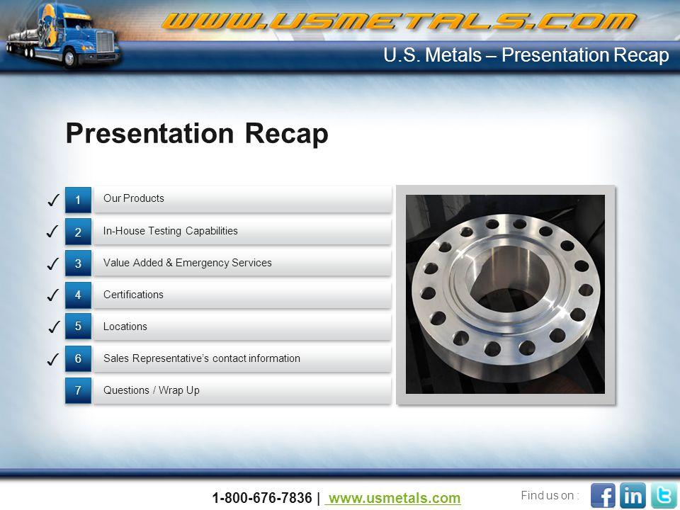 Presentation Recap U.S. Metals – Presentation Recap ✓ ✓ ✓ ✓ ✓ ✓
