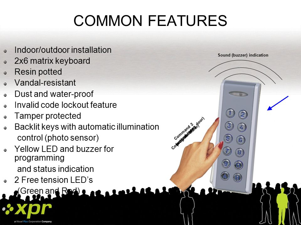 COMMON FEATURES Indoor/outdoor installation 2x6 matrix keyboard
