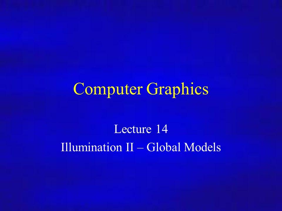 Lecture 14 Illumination II – Global Models