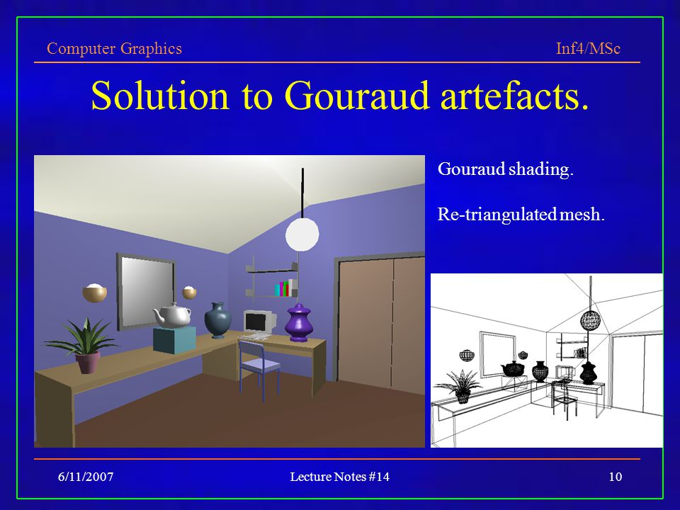 Solution to Gouraud artefacts.