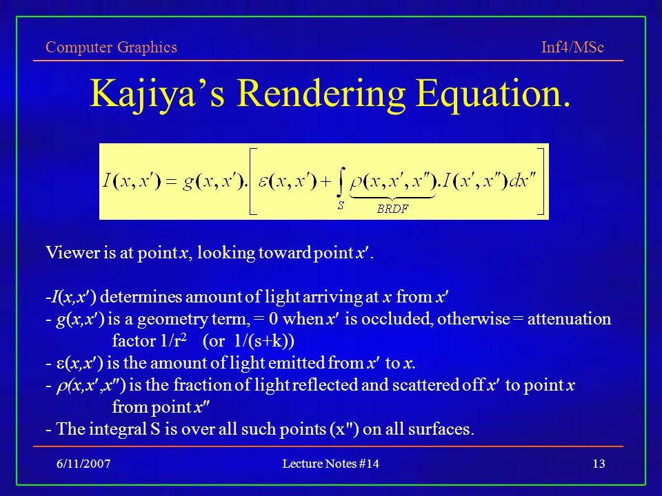 Kajiya's Rendering Equation.