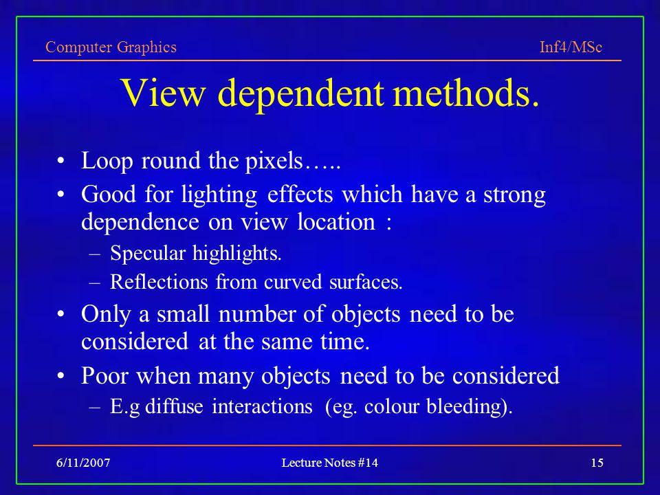 View dependent methods.