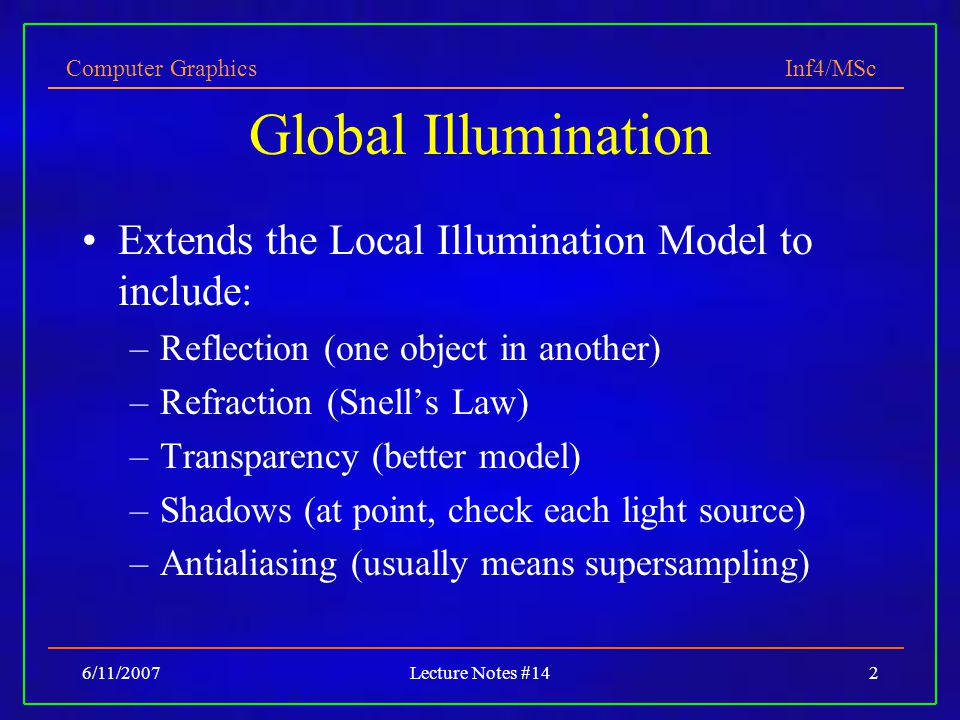 Global Illumination Extends the Local Illumination Model to include: