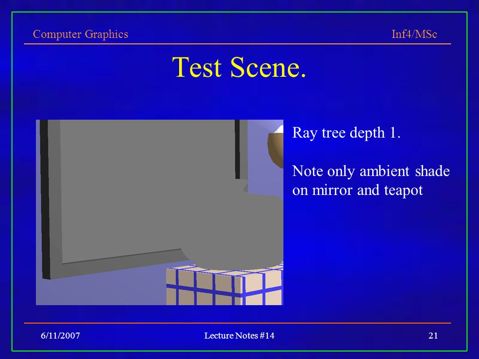 Test Scene. Ray tree depth 1.