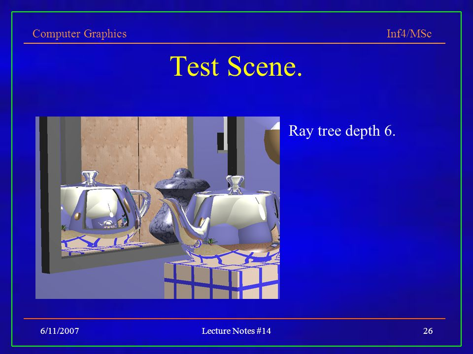 Test Scene. Ray tree depth 6. 6/11/2007 Lecture Notes #14