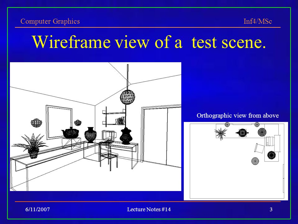 Wireframe view of a test scene.