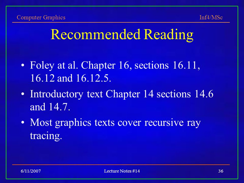 Recommended Reading Foley at al. Chapter 16, sections 16.11, 16.12 and 16.12.5. Introductory text Chapter 14 sections 14.6 and 14.7.